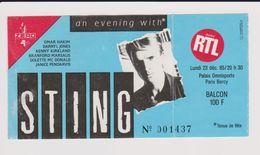 Concert STING Paris Bercy 29 Décembre 1985 - Concert Tickets