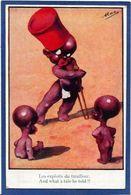 CPA Négritude Satirique Caricature Guerre 14-18 Patriotique Germany Kaiser Non Circulé - Satirical