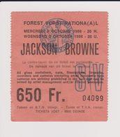 Concert JACKSON BROWNE 8 Octobre 1986 à Forest B. - Tickets De Concerts