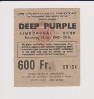 Concert DEEP PURPLE Limburghal Genk 24 Juin 1985. - Tickets De Concerts
