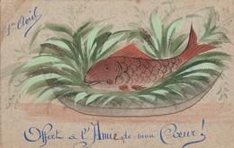 Fétes : POISSON D'AVRIL : Fait Main - Avec Paillettes  ( édit. C Artige Fils Aubenas Ardéche ) - 1 De April (pescado De Abril)