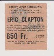 Concert ERIC CLAPTON 17 Janvier 1987  à Forest B - Tickets De Concerts
