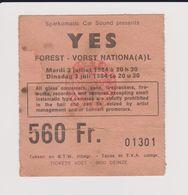 .Concert YES 3 Juillet 1984  à Forest B - Tickets De Concerts