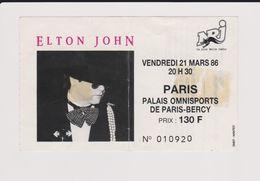 Concert ELTON JOHN 21 Mars 1986 Paris Bercy. - Tickets De Concerts