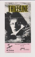 Concert THIEFAINE 23 Octobre 1985 Le Zenith Paris - Tickets De Concerts
