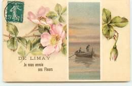Carte Gaufrée - De LIMAY Je Vous Envoie Ces Fleurs - Limay