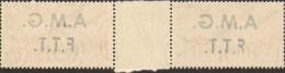 1947-(MNH=**) Trieste A Coppia Posta Aerea L.10 Democratica Con Interspazio Di Gruppo E Decalco Della Soprastampa - Ungebraucht