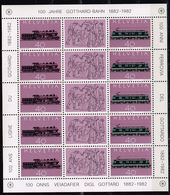 Schweiz 1982, Michel# 1214 - 1215 ** Kleinbogen 100 Jahre Gotthardt-Bahn - Trains