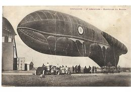 31 TOULOUSE 12è AEROSTIERS MANOEUVRE DE BALLON DIRIGEABLE 1932 CPA 2 SCANS - Toulouse