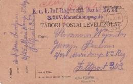 Austrian/Hungarian Feldpost WW1: From Isonzo -  3/25 Marschkompanie And Cachet From KuK Infanterieregiment Dankl. Nr. 53 - 1. Weltkrieg