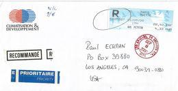 France 2000 Paris Muette Oiseuax De Jubert Meter ATM EMA Registered Cover - 1990 «Oiseaux De Jubert»
