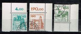 Bund 1977, Michel# 915, 919 + 920 O Dauerserie: Burgen Und Schlösser  Eckrandstücke - BRD