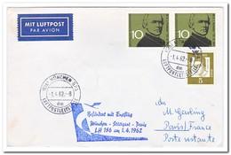 Duitsland 1962, First Flight Munich-Stüttgart-Paris - Brieven En Documenten