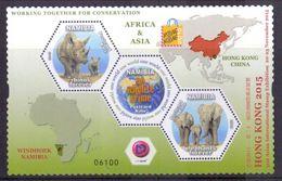 Namibia Block 'Naturschutz, Nashorn U. Elefant' / Namibia M/s 'Conservation, Rhino & Elephant' **/MNH 2015 - Rhinozerosse