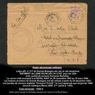 Poste Navale Militaire :Le De Grande-Bretagne Affr. GB N° 217 Obl. Càd Bat. Ligne Richelieu - Signé Calves TTB Qualité - Poste Aérienne