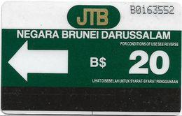 Brunei Darussalam - JDB - Green Definitive Card, 20U, (B+7 Digits) 1988, Mint Or Used;; - Brunei