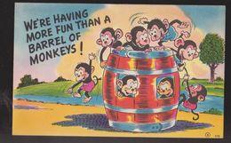 Comic Postcard - More Fun Than A Barrel Of Monkeys - Used 1945 - Comics
