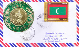 BHUTAN : COMMERCIAL COVER : POSTED FROM THIMPHU FOR BANGLADESH : USE OF GOLDEN PLATED EMBOSSED ROUND STAMP, ODD SHAPE - Bhutan