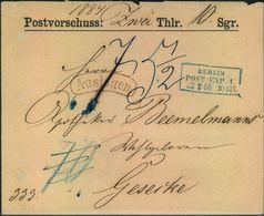 1868,  BERLINER POSTGESCHICHTE, BERLIN POST-EXP_ 1, Postvorschussbrief - Affrancature Meccaniche Rosse (EMA)