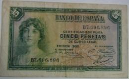 Billete 5 Pesetas. 1935. República Española - 5 Pesetas