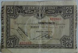 Billete 25 Pesetas. 1937. Bilbao. República Española. Guerra Civil. Sin Serie. Banco De España. Banco Del Comercio - [ 2] 1931-1936 : Repubblica
