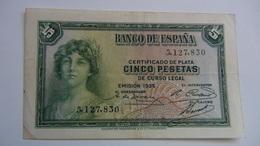 Billete 5 Pesetas. 1935. República Española. Sin Serie - 5 Pesetas