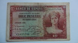 Billete 10 Pesetas. 1935. República Española - [ 2] 1931-1936 : Repubblica