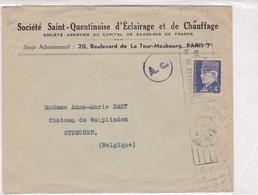 SOCIETE SAINT QUENTINOISE D'ECLAIRAGE ET CHAUFFAGE CIRCULEE FRANCE TO BELGIQUE 1954, AUTRES MARQUES - BLEUP - Covers & Documents