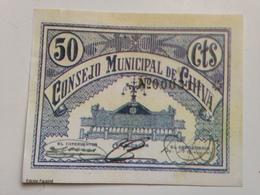 Billete 50 Céntimos. Chiva. Valencia. 1936-1939. República Española. Guerra Civil. Sin Serie. Sin Circular. Facsimil - [ 2] 1931-1936 : República