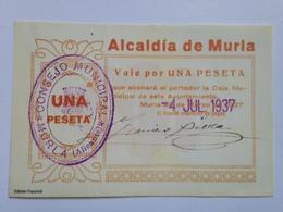 Billete 1 Peseta. Murla. Alicante. 1937. República Española. Guerra Civil. Sin Serie. Sin Circular. Facsimil - 1-2 Pesetas