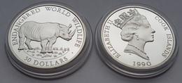 Rhinoceros Silver Cook Island Coin In Capsule - Rhinozerosse