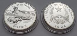 Hippopotamus Silver Coin In Capsule From Guine Bissau - Rhinozerosse
