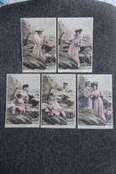 Série De 5 Cpa - Jeune Femme Au Bain, Le Coin Préféré,loin Des Regards Indiscrets,bien Seule,surprise,c'est Ainsi... - Femmes