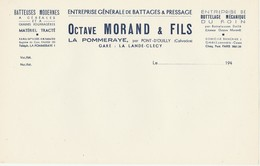 LA POMMERAYE Par PONT D'OUILLY (14) - Papier à Lettres - Battage Pressage Bottelage Mécanique - O. MORAND & FILS - Agriculture