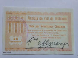 Billete 25 Céntimos. Vall De Gallinera. Alicante. 1937. República Española. Guerra Civil. Sin Serie. Sin Circular. Facsi - [ 2] 1931-1936 : República