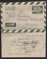 Israel - 1953 - Poste Aérienne - Aerogramme Envoyé En Venezuela - Lettres & Documents