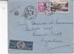 ENVELOPE PAR AVION CIRCULEE FRANCE TO ARGENTINE YEAR 1949 AUTRES MARQUES- BLEUP - Storia Postale