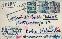 1944 , BARCELONA - BERLIN , TARJETA POSTAL CIRCULADA , CENSURAS , CORREO AÉREO - 1931-Hoy: 2ª República - ... Juan Carlos I