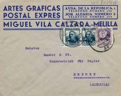 1935 , MELILLA , SOBRE COMERCIAL CIRCULADO A ERFURT - 1931-Aujourd'hui: II. République - ....Juan Carlos I