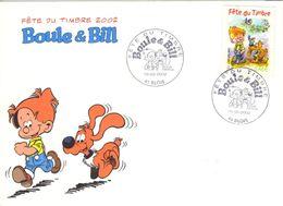 FRANCE 3467 FDC 1er Jour Boule Et Bill De Jean ROBA 2002 Cocker Bédé Comics Cartoon Strip BLOIS 8 - Comics