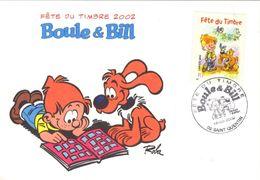 FRANCE 3467 FDC 1er Jour Boule Et Bill De Jean ROBA 2002 Cocker Bédé Comics Cartoon Strip SAINT QUENTIN 4 - Comics