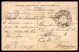 Postal Sem SELO. LISBOA Para CEP Artilharia 8 Tenente Coronel.Cancel CENSURA WWI War Military Mail STAMPLESS 1918 FRANCE - Poststempel (Marcophilie)