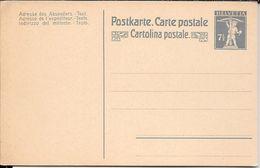 SUISSE SUIZA SCHWEIZ SVIZZERA SWITZERLAND ENTIER INTERO ENTERO POSTAL WALTER TELL CIRCA 1910 UNUSED TRES  BON ETAT 7,50 - Interi Postali