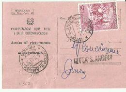 ARP34-Avviso Di Ricevimento Con 25 £ I Mille 2.7.1960 - 6. 1946-.. República