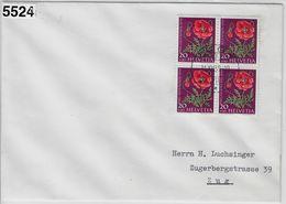 1959 Pro Juventute J180/689 4er Block Zug 31.XII.59 - Covers & Documents