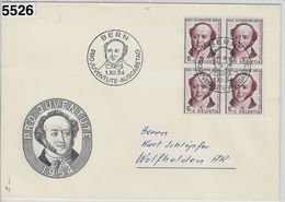 1954 Pro Juventute J153/602 4er Block FDC 1.XII.54 Bern Ausgabetag - Covers & Documents