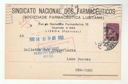 1950 LISBON NAT. PHARMACISTS To UN USA With 'UNITED NATIONS REGISTRY CONTROL OFFICE' Cover Card Pharmacy Health Portugal - 1910-... Republic