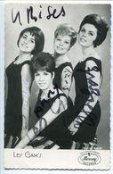 LES GAM'S ( Gams ) Autographe Manuscrit Dédicace Photo Jacques Aubert 9 X 14 Groupe Féminin Rock Début Années 60 Sixties - Autographes