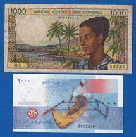 Comores  2  Billets  Dans  L'etat - Comoros