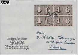 1943 100 Jahre Schweizerische Postmarken 258/416 4er Block Möriken 1.III.43 To Aarau - Switzerland